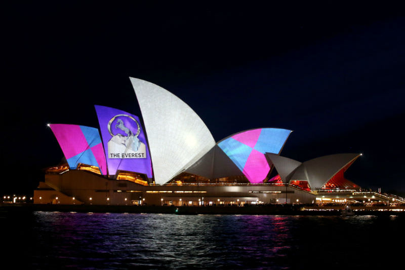 The Sydney Opera House is seen promoting the Everest race during the TAB Everest Barrier Draw on 9 October 2018. (Photo by Jason McCawley/Getty Images for The ATC)