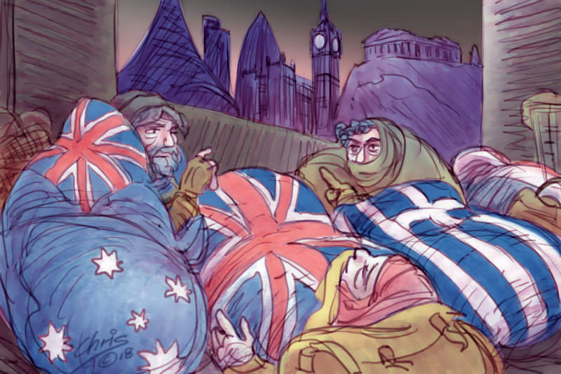 Homeless people in sleeping bags patterned with Australian, UK and Greek flags. Cartoon by Chris Johnston