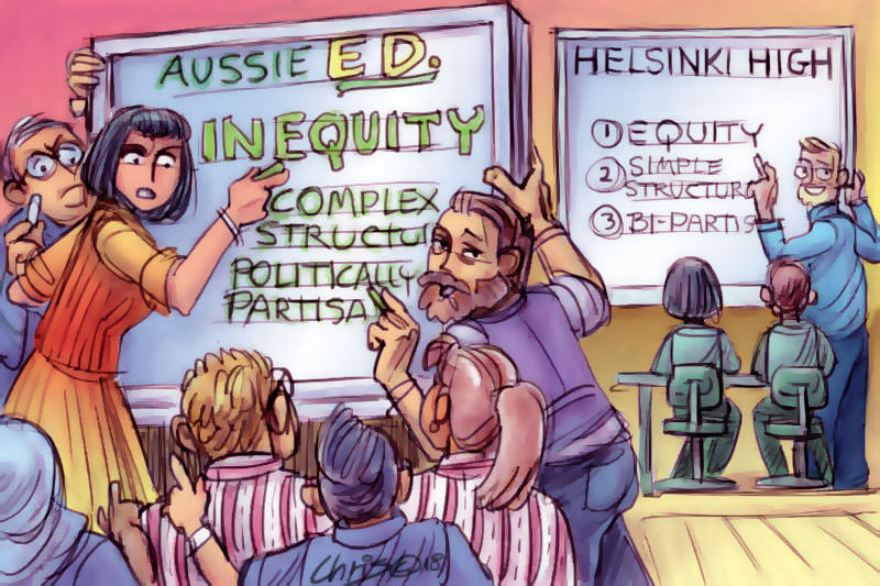 Cartoon comparing chaotic Australian education based on inequity with simpler Finnish education based on equity. Cartoon by Chris Johnston