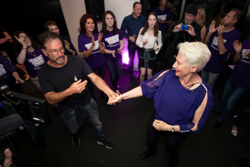 Dr Kerryn Phelps dances and celebrates on the night of the Wentworth by-election (Cole Bennetts/Getty Images)