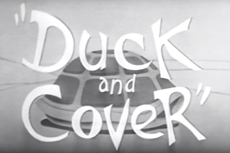 Still from Bert the Turtle Duck and Cover ad