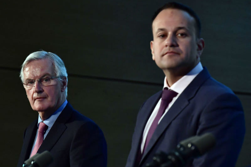 Michel Barnier, European Chief Negotiator for the United Kingdom Exiting the European Union (left), visits the UK/Irish Border and gives a joint speech with Irish Prime Minister Taoiseach Leo Varadkar (right). (Charles McQuillan/Getty Images)