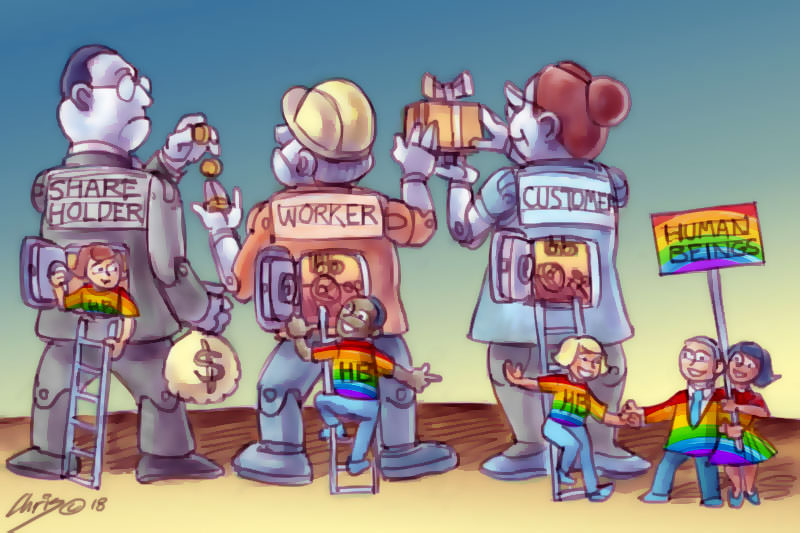 Human beings exit the robots of Share Holder, Worker and Customers. Cartoon by Chris Johnston