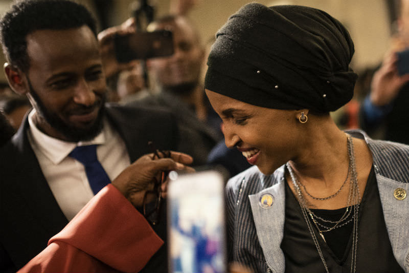 Minnesota Congressional candidate Ilhan Omar attends election night event in Minneapolis (Stephen Maturen/Getty Images)