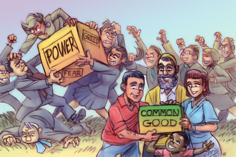 People battle over a crate labeled 'power' while a happy few share a second crate labeled 'common good'. Cartoon by Chris Johnston