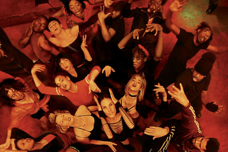 Overhead view of ensemble dancing in Climax