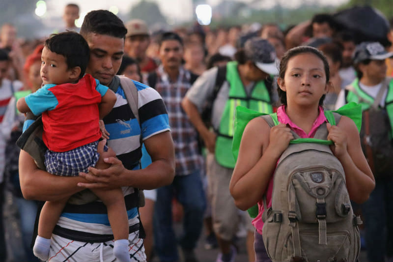The migrant caravan crosses into Mexico (John Moore/Getty Images)