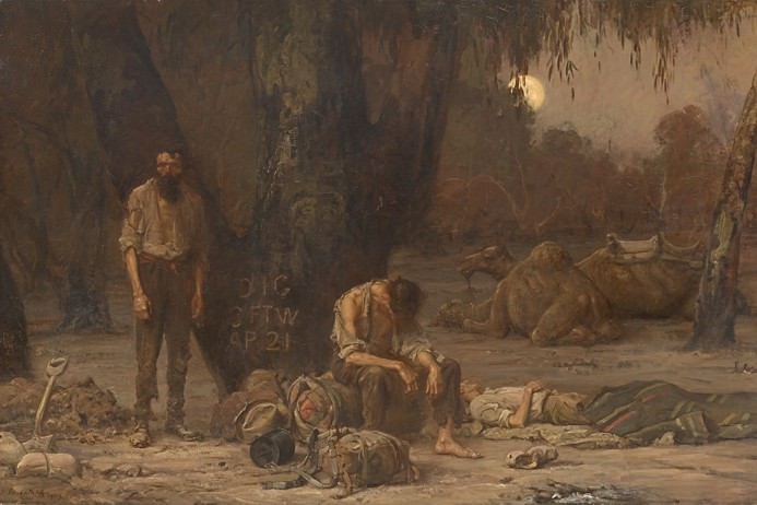 Arrival of Burke, Wills and King at the deserted camp at Cooper's Creek, Sunday evening, 21 April 1861. Painting by John Longstaff