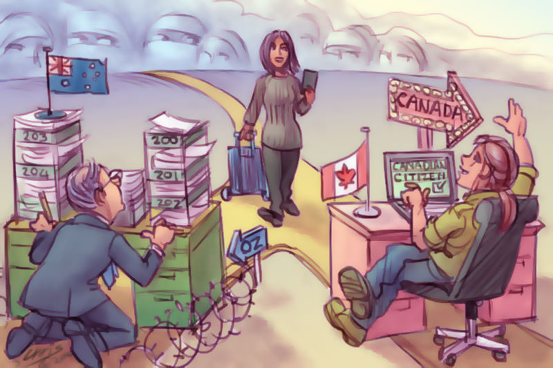 Refugee woman is welcomed by an efficient Canadian immigration official while an Australian official is weighed down by paperwork. Cartoon by Chris Johnston