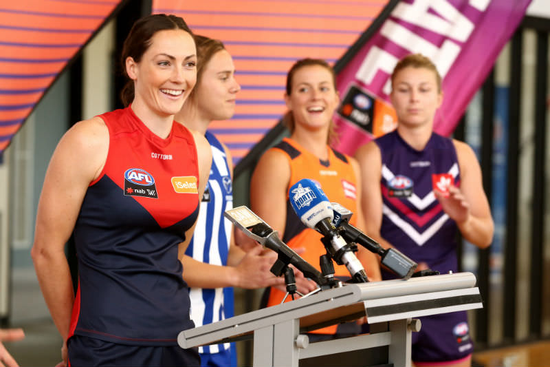 Meg Downie joins other AFLW players during a media opportunity in late 2018. (Robert Prezioso/AFL Media/Getty Images)
