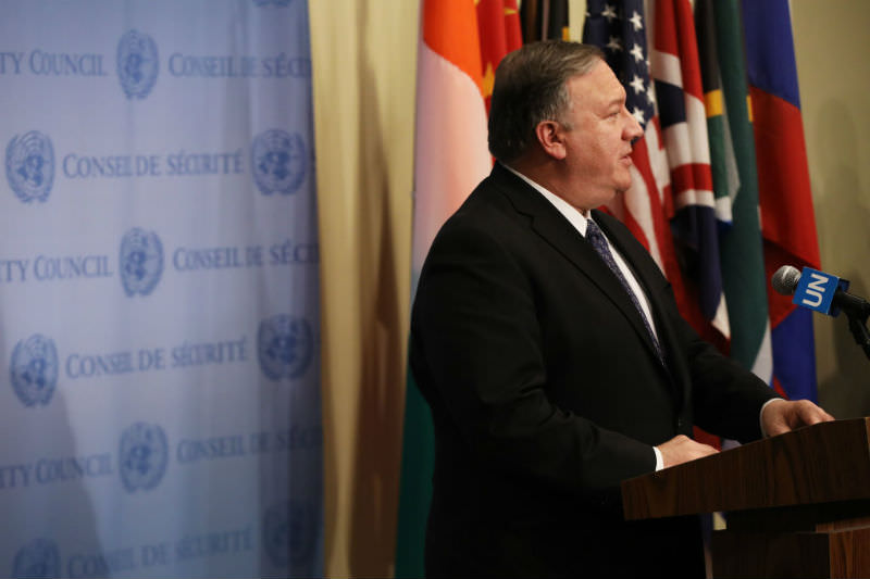 US Secretary of State Mike Pompeo speaks to the media following a United Nations Security Council meeting which was requested by the United States to offer a statement on the situation in Venezuela. (Spencer Platt/Getty Images)