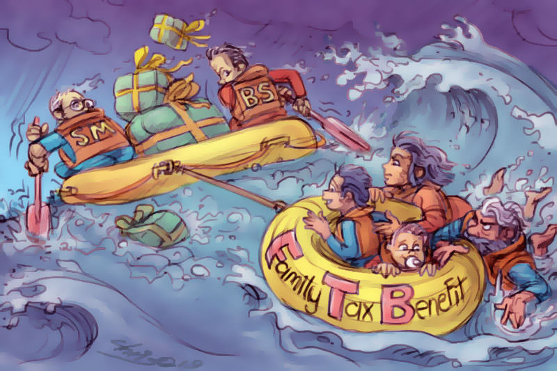 Scott Morrison and Bill Shorten paddle away from a family on a Family Tax Benefit raft in turbulent seas. Cartoon by Chris Johnston