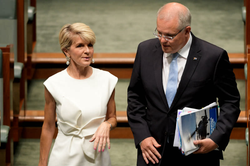 Liberal MP Julie Bishop and Prime Minister Scott Morrison walk into Question Time in the House of Representatives (Photo by Tracey Nearmy/Getty Images)