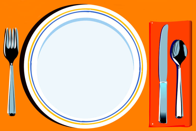 Pop art style painting of dinner plate and cutlery (Clker-Free-Vector-Images / Pixabay)