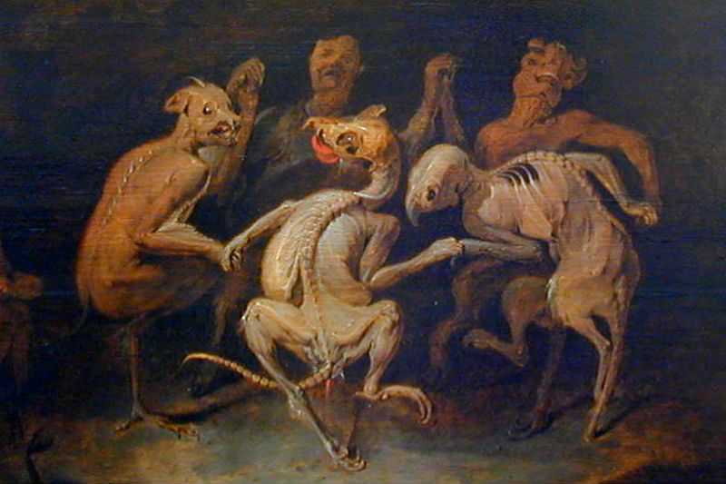 17th century oil paining La ronde des Farfadets de Les Farfadets by David Ryckaert shows goblins dancing in a ring.