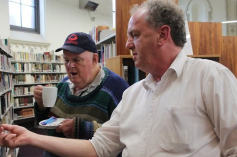Les Murray with Philip Harvey at the Carmelite Library in Middle Park, Vic. in 2013. Photo by Peter Thomas