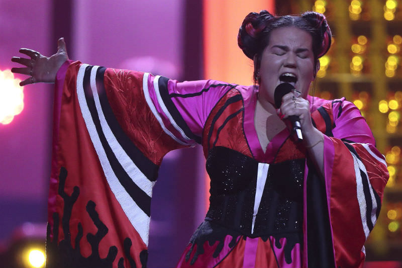 Netta Barzilai representing Israel performs during the second grand final dress rehearsal of Eurovision song contest 2018 in Lisbon, Portugal. (Photo by Carlos Rodrigues / Getty Images)