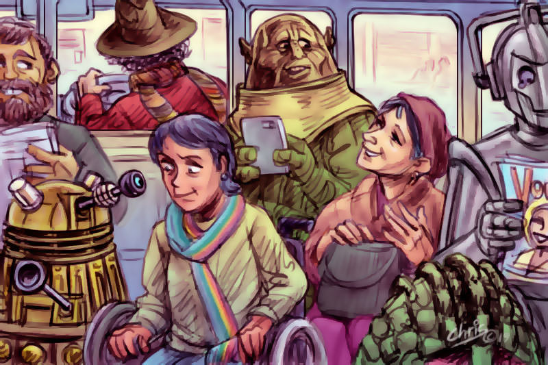 Chris Johnston cartoon shows a woman on a bus crowded with friendly Doctor Who characters.