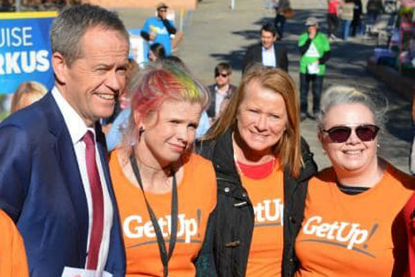 Former Labor leader Bill Shorten with members of GetUp! during the 2016 election campaign.