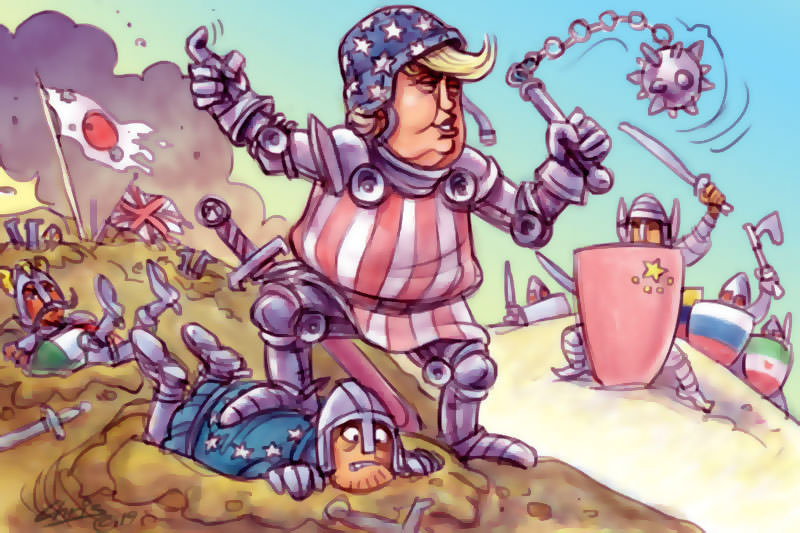Chris Johnston cartoon has Donald Trump going to battle in armour.