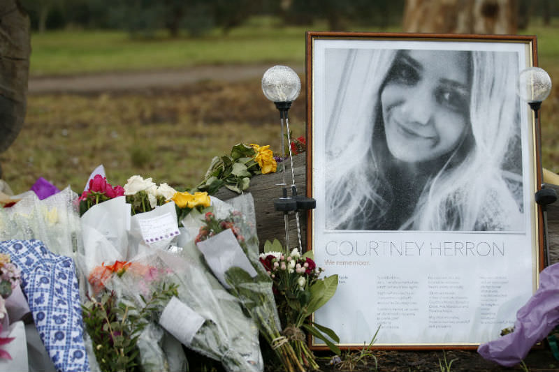 A makeshift shrine to Courtney Herron at Royal Park in Melbourne. (Photo by Darrian Traynor/Getty Images)