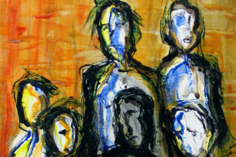 Oil painting of displaced people done in an expressionistic style. Credit: maniart via Getty