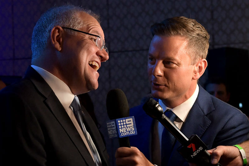 Scott Morrison claims victory in the 2019 Australian federal election (Photo by Tracey Nearmy/Getty Images)