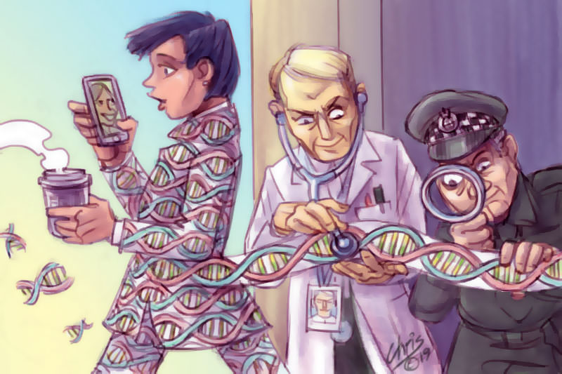 Chris Johnston cartoon shows a person in a coat shedding colourful ribbons designed to look like DNA strands. The ribbons are studied by a doctor, who then passes them on to a government agent.