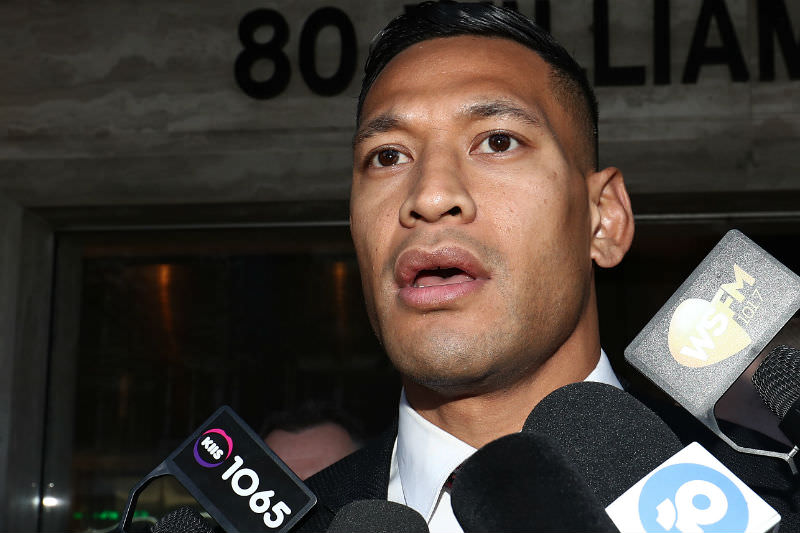 Israel Folau departs his conciliation meeting with Rugby Australia at the Fair Work Commission in Sydney on 28 June 2019 in Sydney. (Photo by Mark Metcalfe/Getty Images)