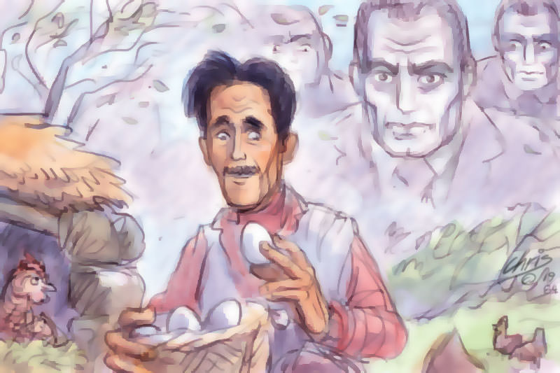 George Orwell collects eggs while Big Brother type figures loom in the background. Cartoon by Chris Johnston