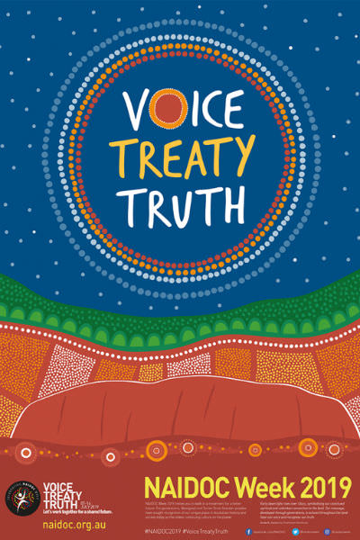 NAIDOC Week poster bearing theme words Voice Treaty Truth and an artistic representation of Uluru under a vast starry sky.