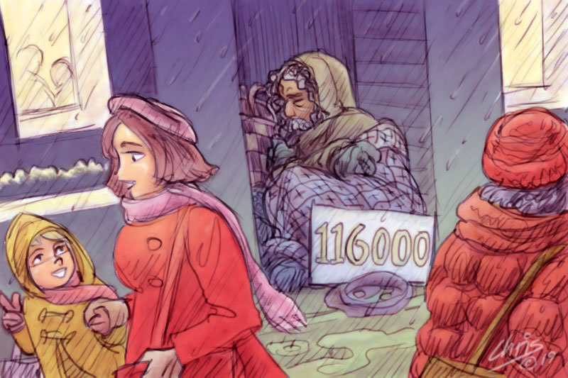 People walk past not noticing a man sleeping in an alley. He has a sign that reads 116,000. Cartoon by Chris Johnston
