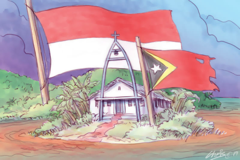 This cartoon by Chris Johnston portrays a church with blood running under the door and a large Indonesian flag looming over a tattered Timor-Leste flag.