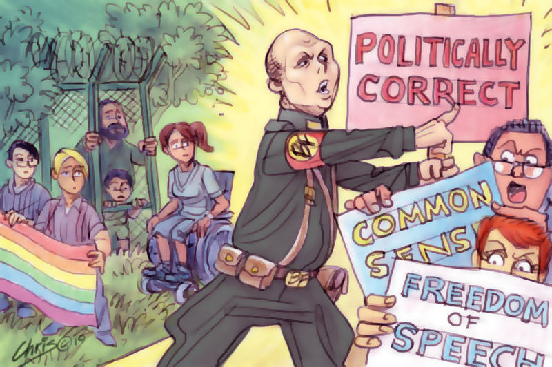 Chris Johnston cartoon has Peter Dutton whipping defenders of political correctness into a frenzy, while people representing various categories of marginalisation watch on forlornly.