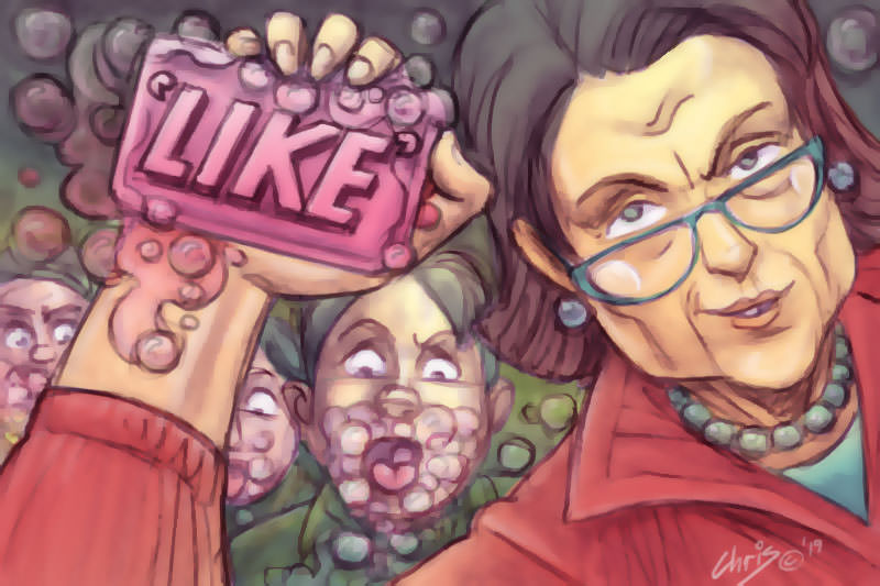 Cartoon by Chris Johnston parodies old Fight Club movie poster, with a depiction of the author holding a bar of pink soap with the word 'like' on it.