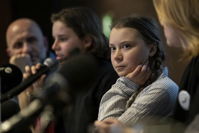 Climate activist Greta Thunberg attends a press conference organised by Belgian Youth for Climate with other activists on 21 February 2019 in Brussels, Belgium. (Photo by Maja Hitij/Getty Images)
