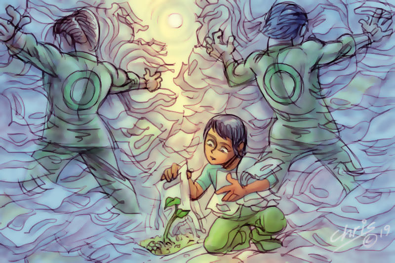 While two people focus on holding back a deluge of plastic bags, a small child lifts a single one to reveal green shoots beneath. Illustration by Chris Johnston