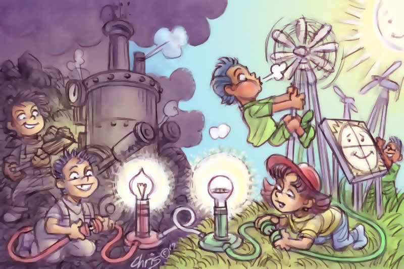 Children play with power generation technology, both coal and renewables. Illustration by Chris Johnston