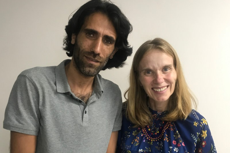 Carolina Gottardo (right) pictured with Behrouz Boochani in Port Moresby.