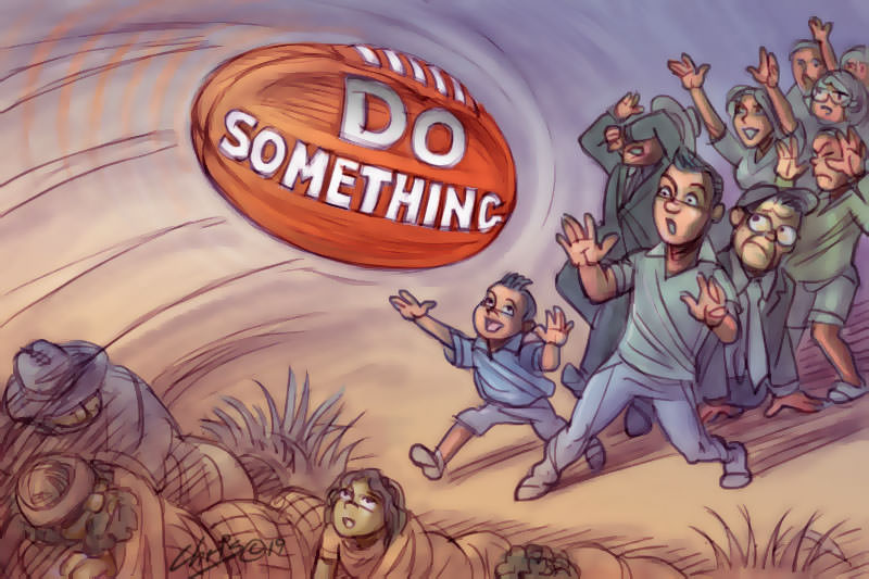 In this Chris Johnston illustration, a football flies over the homeless camping in the longrass, aiming at the general public - some of who reach out to accept the message, some are uncertain, and some hide or shy away from it. The words 'do something' are written on the ball.