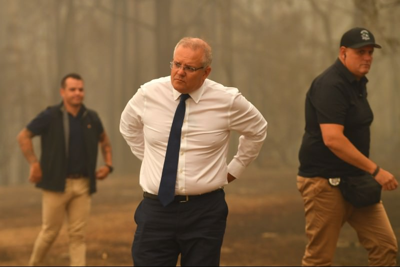 Prime Minister Scott Morrison tours the property of John 'Kooka' Kinniburgh on 3 January 2020 in Sarsfield, Vic. (Photo by James Ross-Pool/Getty Images)