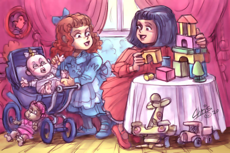 An illustration of young girls in Edwardian dress at different types of play - one with dolls, the other with construction toys. Illustration by Chris Johnston