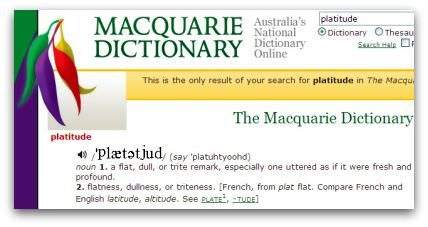 Platitude, the Macquarie Dictionary Online