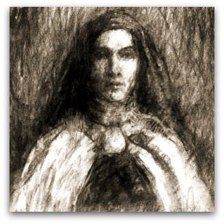 the nun: charcoal drawing, Flickr image by freeparking