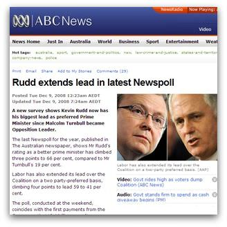Rudd extends lead in latest Newspoll, from ABC News