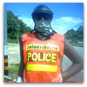 Fibreglass police officer in Burma