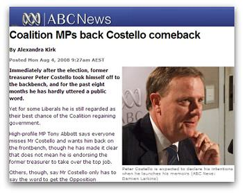 'Coalition MPs back Costello comeback', screen grab from ABC News
