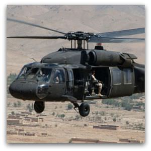 Black Hawk helicopter, as used in the Angoor Adda raid