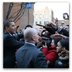 Barack Obama greets supporters at saint peter's college in jersey city (project 365 - day 9), Flickr image by graciepoo