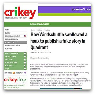 Margaret Simons' Crikey article on the Windschuttle/Quadrant hoax